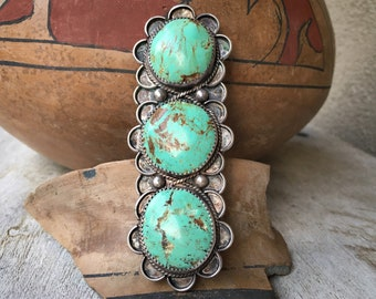 29g Huge Turquoise Ring for Women or Men Size 9.75, Navajo Long Ring Native American Indian Jewelry