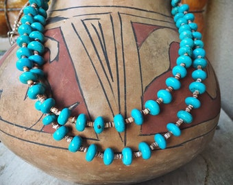 Two Strand Turquoise Bead and Heishi Necklace for Women, Native American Indian Jewelry