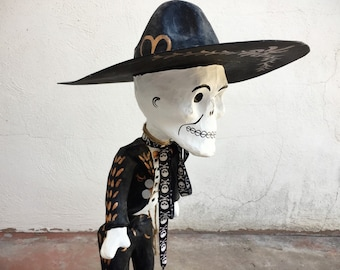Vintage Mexican Day of the Dead Skeleton Mariachi with Sombrero Paper Mache Calavera Mexican Folk Art