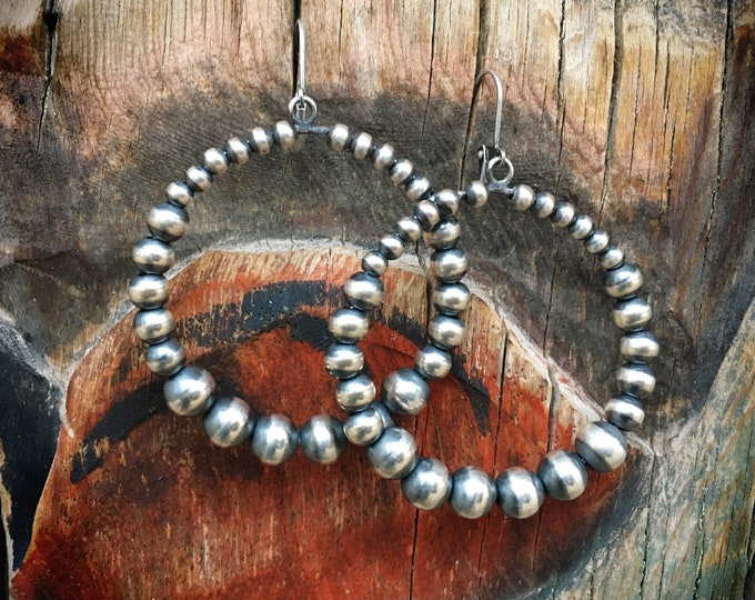 """Featured listing image: 2"""" Navajo Pearl Sterling Silver Bead Hoop Earrings for Women, Native American Indian Jewelry"""