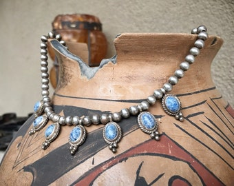 Denim Lapis Sterling Silver Bead Choker Necklace for Women, Navajo Native American Style Jewelry