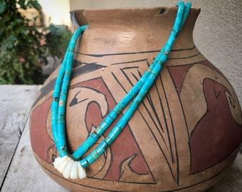 "Turquoise Disc Heishi with White Shell Jocla Converted to Choker Necklace 15"", Santo Domingo Jacla"