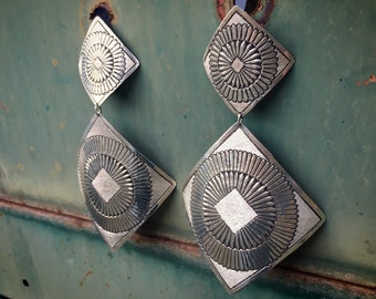 Huge and Long Navajo Leander Tahe Sterling Silver Earrings, Native American Indian Jewelry