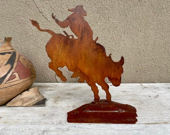 Vintage Rustic Iron Bucking Bull Rodeo Rider Small Sculpture, Metal Art, Shelf Decor Ranch