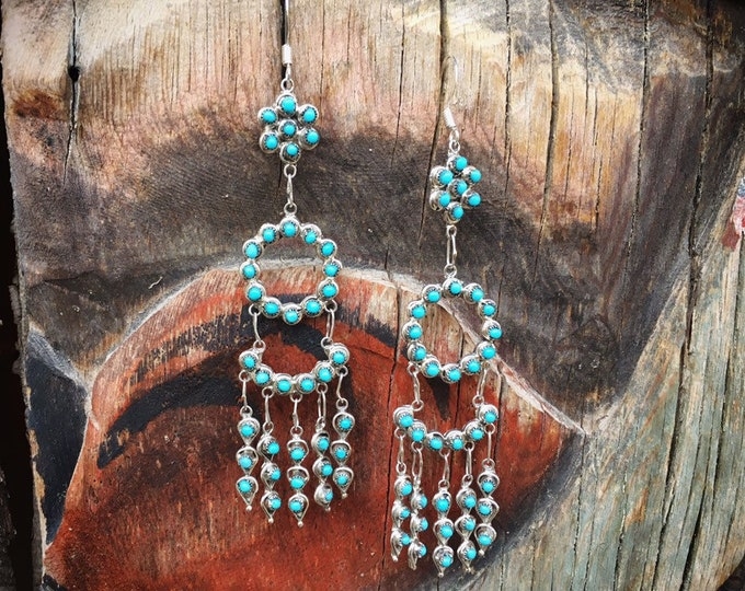"Featured listing image: 3-1/2"" Turquoise Chandelier Earring Dangles, Zuni Native American Indian Jewelry"