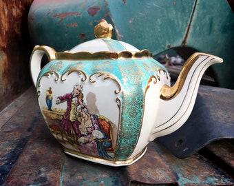 James Sadler England Cube Teapot Gilded Transferware Colonial Musician Courting Couple