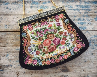 Vintage Petit Point Purse Tapestry Clutch Handbag with Floral Design Gold Tone Chain Handle