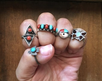 Vintage Sterling Silver Ring Boho Jewelry Native American Indian Turquoise or Coral Rings