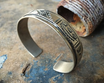 Stamped Sterling Silver Cuff Bracelet for Women or Men, Native American Indian Jewelry Navajo