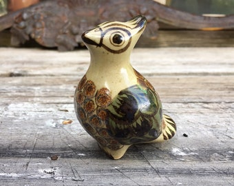 Small Tonala Pottery Crested Bird Figurine by Mexican Master Carlos Villanueva, Southwestern Decor