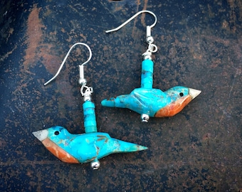 Carved Blue Turquoise Red Breasted Robin Fetish Earrings by Artist Matt Mitchell, Southwest Jewelry