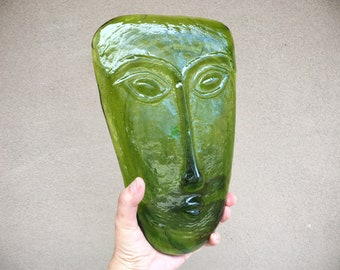 Mid Century Blown Art Glass Face Sculpture by Mexican Gabriel and Rodolfo Lio Jaramillo, Green Decor