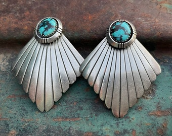1970s Clip On Earrings Matrixed Turquoise Sterling Silver Concho, Native American Indian Jewelry