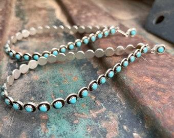 "Huge 4"" Sterling Silver Turquoise Teardrop Hoop Earrings, Native American Indian Jewelry Zuni"