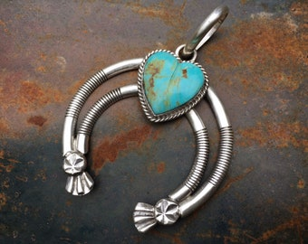 Signed Navajo Silver Naja Pendant with Heart Shaped Turquoise, Native American Indian Jewelry