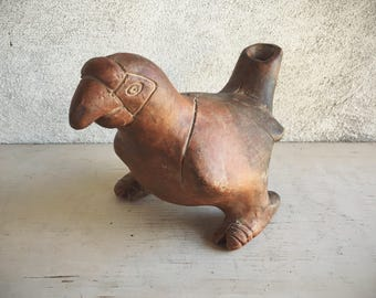 Pre-Colombian Style Parrot Vessel from Colima, Folk Art Pottery Bird Statue, Primitive Decor