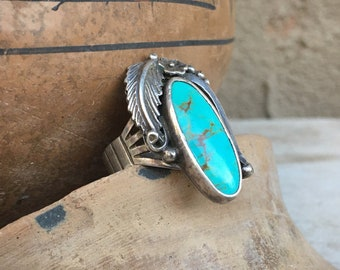 Vintage Traditional Navajo Turquoise Ring for Men or Women Size 10.25, Native American Indian Jewelry