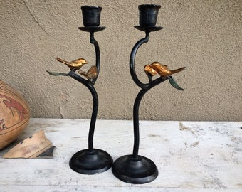 Two Metal Table Top Candelabra with Bird Decor, Country Cottage Home Decor Spanish, Rustic Candle
