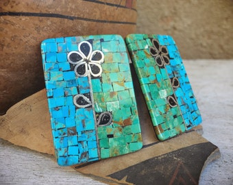 Huge Turquoise Mosaic Inlay Post Earrings with Black Onyx Flower Design, Santo Domingo Jewelry