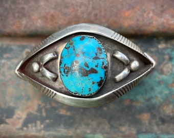 Sterling Silver and Turquoise Bowtie Cuff Bracelet, Vintage Sandcast Native American Indian Jewelry