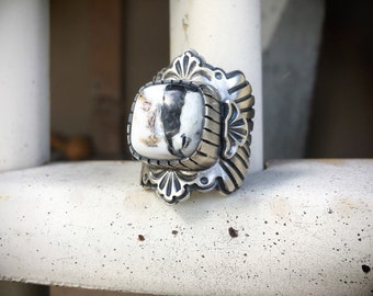 Heavy Cigar Band Ring for Women Size 8 White Buffalo Turquoise Native American Indian Jewelry, Anniversary Gift for Wife, Girlfriend Gift