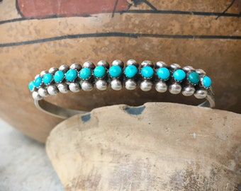Old Pawn Turquoise Silver Vintage Snake Eye Cuff Bracelet, Zuni Native American Indian Jewelry