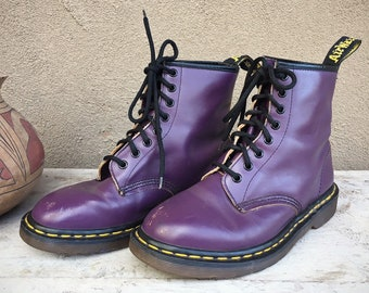 586082b5ddd7 Made in England Dr Martens Boots Purple Leather US Women s Size 8 Doc Marten  1460 16-Eyelet Combat Boots