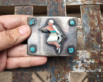 Vintage Kachina Dancer Shell and Turquoise Inlay Sterling Silver Belt Buckle for Men, Native American Zuni Inlay