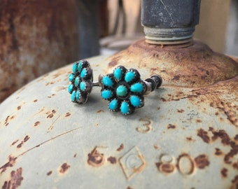 Small 1940s Turquoise Petit Point Screw Back Earrings, Native American Indian Jewelry