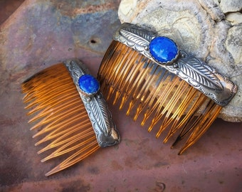 Pair of Vintage Sterling Silver and Denim Lapis Hair Combs, Native American Indian Hair Accessory, Vintage Hair Clips