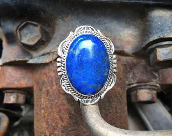 Blue Lapis Lazuli Ring for Women or Men Size 8.5, Navajo Native American Indian Jewelry, Men's Ring, Healing Stone, Birthday Gift Boyfriend