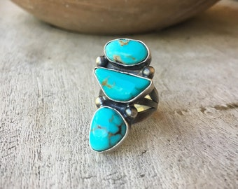 Chunky Three Stone Turquoise Ring for Women Size 5.25, Navajo Native American Indian Jewelry