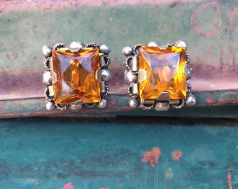 1930s Mexican Jewelry Sterling Silver Earrings Screw Back Orange Citrine Glass Rhinestone