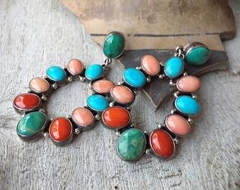 Multi Stone Multi Color Turquoise Hoop Earrings, Southwestern Native American Santa Fe Style Jewelry