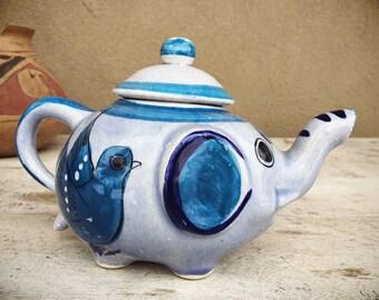 Vintage Decorative Ceramic Elephant Teapot from Mexico Tonala Pottery, Ken Edwards Style
