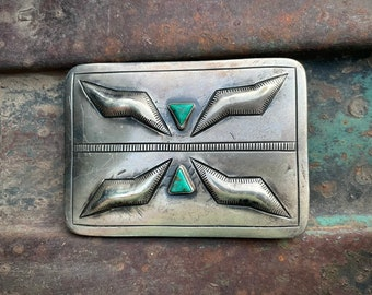 Navajo June Delgarito Sterling Silver Repousse and Turquoise Belt Buckle for Men or Women