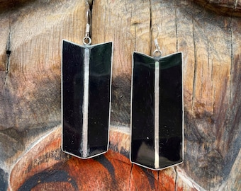 Black Onyx and Sterling Silver Channel Inlay Modernist Earrings, Southwestern Native American Style