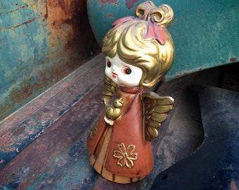 Vintage Angel Figurine Christmas Decoration, Peace on Earth, Shelf Angel Decor