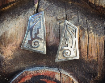 Modernist Silver Overlay Earrings, Native America Indian Jewelry, Hopi Overlay, Silver Anniversary Gift for Wife, Girlfriend Gift for Her