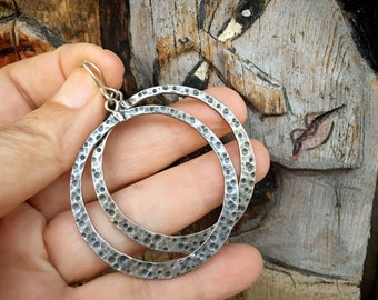 "Vintage Large 2"" Hammered Silpada Sterling Silver Hoop Dangles for Women, Southwestern Style"