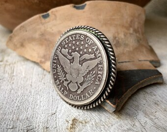 1900s Silver Half Dollar Sterling Silver Ring, Navajo Native American Indian Jewelry for Men