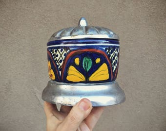 Mexican Talavera Pottery Urn Pewter Lid, Mexican Pottery Trinket Dish, Ceramic Holder, Kitchen Decor