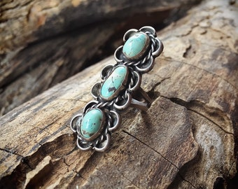 Old Pawn Long Turquoise Ring for Women Size 5 Navajo Native American Ring, Vintage Turquoise Jewelry