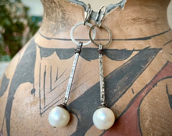 Vintage 925 Sterling Silver Modernist Dangle Earrings with Pearl on End, Geometric Jewelry