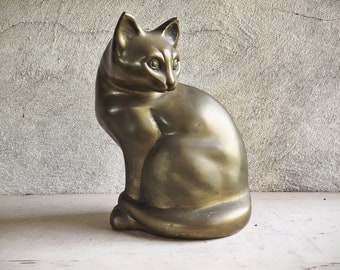 Vintage Large Brass Cat Statue or Door Stop, Siamese Cat Lover Gift for Cat Owner, Mid Century Hollywood Regency Home Decor, Shelf Accent