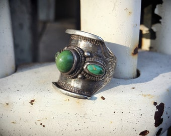 Vintage Green Turquoise Ring for Men Women Size 10 - 11 Adjustable Sterling Silver Tibetan Ring