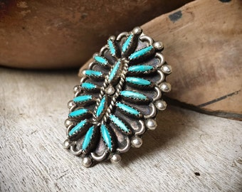 Signed Zuni Needlepoint Cluster Turquoise Ring for Women Size 5 Native American Indian Jewelry