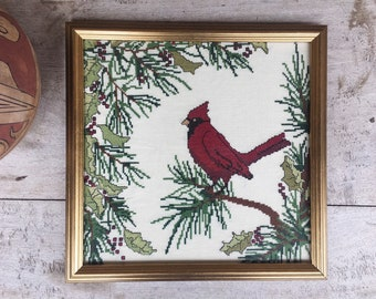 Vintage Cross Stitch Red Cardinal Framed Wall Art Hanging, Bird Gift for Bird Watcher, Completed Needlepoint for Sale, Vintage Wall Decor