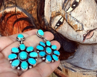 Turquoise Cluster Dangle Earrings Flower Design, Native American Indian Jewelry Navajo