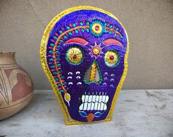 Vintage Mexican Tin Skeleton Skull Purple Calavera Candle Holder Rustic Southwestern Decor